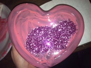heart glass dish with pink glitter